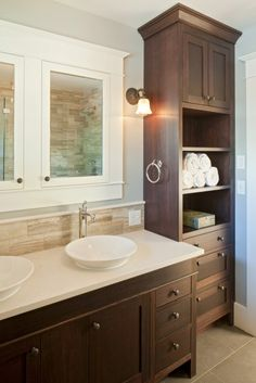 Minimalist Bathroom Cabinets Ideas For You. Bathroom storage cabinets are great for keeping your accessories organized and clean all year round. Modern Bathroom Cabinets, Narrow Bathroom, Upstairs Bathrooms, Bathroom Renos, Bathroom Vanities, Bathroom Ideas, Shared Bathroom, Simple Bathroom, Bathroom Colors