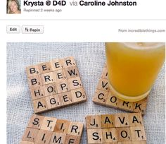 scrabble piece coasters