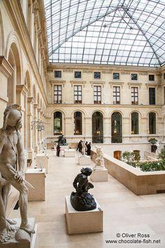 Sculptures inside the Paris Louvre museum