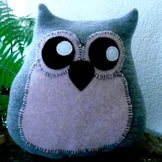 Pink and Grey Wool Owl Felted Pillow Upcycled by ItsAbout316, $20.00