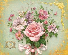 Сообщество иллюстраторов / Иллюстрации / ma-ry / Букет с розовой лентой