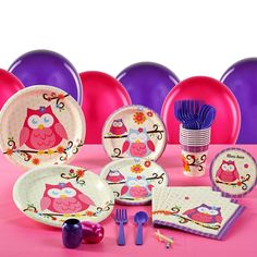 Owl Blossom Birthday Party Pack for 16
