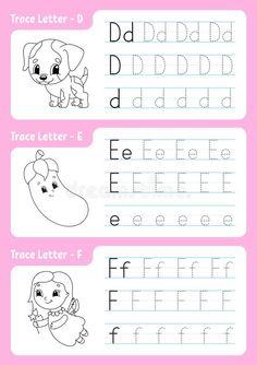 Handwriting Worksheets For Kids, Kindergarten Addition Worksheets, Alphabet Tracing Worksheets, Alphabet Writing, Alphabet Coloring Pages, Tracing Letters, Learning The Alphabet, Preschool Worksheets, Preschool Activities