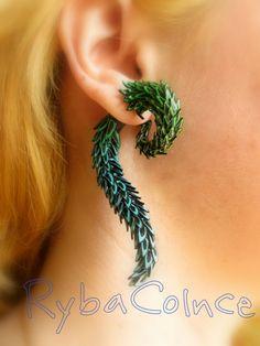 La queue de l'oreille de faux dragon jauge - boucles d'oreilles Faux gauge/jauge / plug / faux piercing