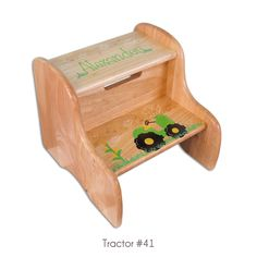 Our popular (and handy) large fixed stool personalized and hand painted with our tractor design