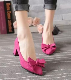 2016 Fashion Womens Sweet Bowknot Pointy Toe Comfort Chunky Heels Ol Shoes