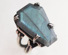 thenecrohazard:  Easeful Death Large Labradorite Coffin Ring from Bloodmilk JewelsSize: 7.5-8$375.00