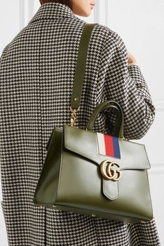 Gucci | GG Marmont striped canvas-trimmed leather tote | NET-A-PORTER.COM