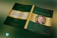 """Green Regal Funeral Program Publisher Template is created in Microsoft Publisher for a modern memorial or home going service. It's gold decals and text style laid over a green paisley background will honor and dignify your loved ones. A great keepsake program.  This template is a Microsoft Publisher template designed by Godserv to be edited with Microsoft Publisher 7 and higher. Once you have downloaded this template, use Microsoft Publisher to make edits.  What's Included - 1– 11x8.5""""…"""
