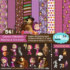 INSTANT DOWNLOAD [[ 54 ITEMS ]]  ||Masha and the Bear|| Papers-Clipart set - 300 Dpi -Transparent background