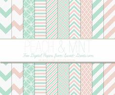 Free Peach and Mint Digital Paper Set
