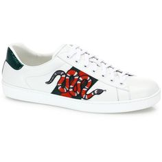 Gucci New Ace Snake Lace-Up Sneakers (4,785 GTQ) ❤ liked on Polyvore featuring men's fashion, men's shoes, men's sneakers, apparel & accessories, gucci mens sneakers, gucci mens shoes, mens lace up shoes and mens snake skin shoes