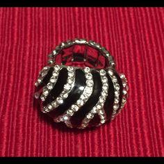 Chunky Zebra Stripe/Rhinestone Ring Super cute zebra stripe/rhinestone chunky ring with elastic band. Jewelry Rings