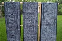 Batik hemp dyed in indigo textile, approximately 7.6 yards long by 1.5 foot wide. Because it is handmade by many individual women, sizes and batik design varies. Use your DIY sensibility and creativity to transform this durable textile into dining table runner and placemats, furniture upholstery, pillows, scarves, etc. Provided by Sapa O'Chau.