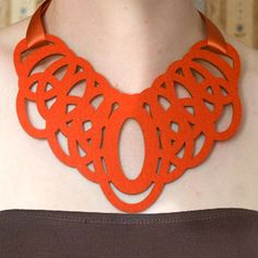 Laser Cut Felt Necklace Black By Chiharusato On Etsy