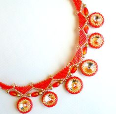 Rivoli Crystal Beadwoven Necklace Orange Tangerine door SpringColors, $100.00