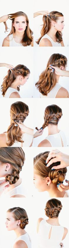 French Braid Bun. First you need to at least know how to do a proper french braid. You can use google for that. Start with a side part. French braid against the side of the head going diagonal. Once braid is completed, tie with rubber hair band. Manipulate the braid by twisting it into a cinnamon bun. Bobby pin into place.
