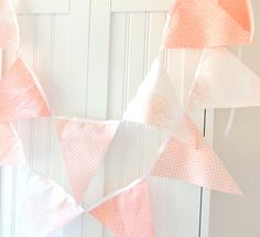 9 Feet Party Banner, Bunting, 21 Pennant Flags, Nectarine, Soft Peach and White, Wedding Decor, Photo Prop, Baby Nursery Decor