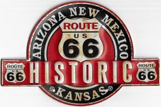 Historic Route 66, Metal Plaque, Garage, Decoration, Relief, Sticker, Logo, Products, Drawing Drawing