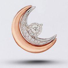 18K雙色金 圓月彎月 一款多戴鑽石吊咀 10顆碎鑽共0.09克拉 金重2.21克 BRP20074