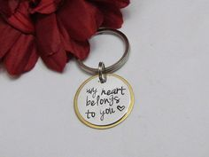 My HEART BELONGS to YOU  Key Chain  Hand by ExpressionsStamped