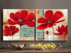 Blue background red poppies flower oil painting on canvas modern pop art wall art home decor living room bedroom office shipping Oil Painting Flowers, Oil Painting On Canvas, Canvas Wall Art, Oil Paintings, Modern Pop Art, Arte Pop, Art Plastique, Collage Art, Art Lessons