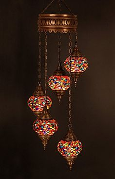 Bohemian Hanging Mosaic Turkish Moroccan Lamp Chandelier Ceiling 5 Bulb Light [affiliate link]