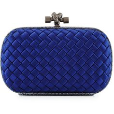 Bottega Veneta Woven Satin Knot Minaudiere (€1.390) ❤ liked on Polyvore featuring bags, handbags, clutches, blue purse, handbags purses, blue clutches, woven purse and round purse