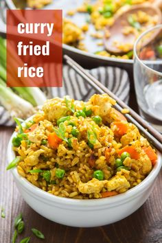 Curry Fried Rice with Scrambled Tofu : This curry fried rice is packed with flavor and cooks up in minutes. Studded with tender crisp veggies and scrambled tofu, this easy vegan meal is perfect for weeknight dinners and better than takeout! Rice Recipes Vegan, Vegan Dinner Recipes, Curry Recipes, Vegan Dinners, Vegetarian Recipes, Healthy Recipes, Weeknight Dinners, Fried Rice Recipes, Curry Fried Rice