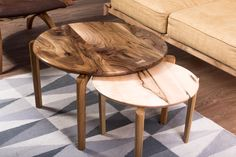 Nested Round Coffee Tables Decor- The perfect setting for both a crisp espresso in the morning and a sweet red wine in the evening is the rich, carefully handpicked Walnut grain of Jupiter Coffee Table.