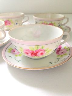 Mid Century Hand Painted Japan Bone China Tea Cup and Saucer Set of 4 / Little Princess Tea Party