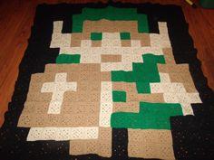 Link pixel crochet blanket by LadyMetalD on deviantART Crochet Hooks, Free Crochet, Knit Crochet, Pixel Crochet Blanket, Crochet Blankets, Crochet Butterfly, Crochet Humor, Tunisian Crochet, Crochet Animals
