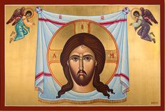 """Original hand-painted gold leafed Holy Napkin icon for sale. 32"""" wide"""