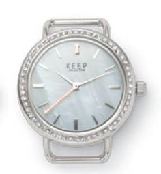 Silver Pavé mother of pearl watch charm.