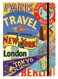 A large notebook from Cavallini depicting travel images from their archives on its covers. Cavallini's signature notebook since Notebook size: 15 x x Elastic closure and inside back pocket.