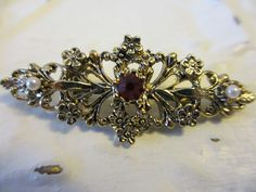 Vintage Gerry's Gold Tone Red Rhinestone Faux Pearls Brooch #Gerrys