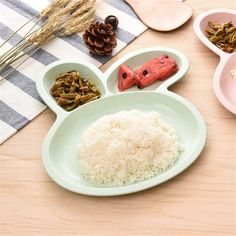Rice Dishes Rabbit Food Fruits Cartoon Divided Dinner Plates Picnic Kitchen Gadgets Wholesale Accessories Supplies Stuff