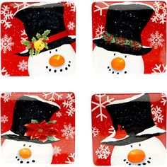 Certified International Top Hat Snowman 8.25-inch Dessert Plates $36 Overstock.com