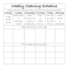Weekly Cleaning Schedual...no promises