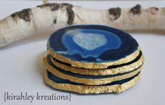 AGATE Coasters -- X-Large 4pc Royal Cobalt Sky Blue Crystal Geode Slices shown w/ Metallic Gold Edges, Wedding Gift - FREE Shipping in USA by KirahleyKreations on Etsy