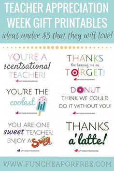 No-fuss, easy teacher appreciation gifts (or end of the year gifts!) - all you need is a gift card, and one of our FREE printables! www.FunCheapOrFree.com #teachergifts #giftideas