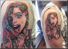 biker zombie pin up mechanic tattoo