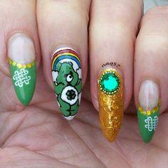 shamrock care bear st patrics day nail art design 3/13/2015