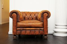 worn leather chair