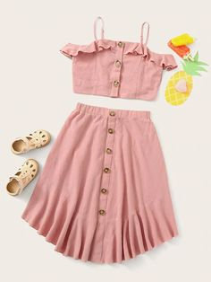 Girls Summer Outfits, Dresses Kids Girl, Summer Fashion Outfits, Cute Outfits For Kids, Cute Casual Outfits, Pretty Outfits, Girl Outfits, Girls Fashion Clothes, Girl Fashion