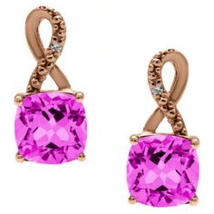 Rose Gold Cushion-Cut Pink Sapphire Birthstone Diamond Drop Earrings Jewelry Available Exclusively at Gemologica.com