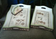 Decoupage y timbres , con resina
