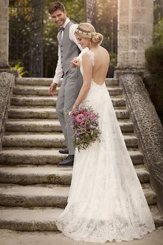 Another exquisite and romantic wedding dress with shoulder straps design from Essense of Australia