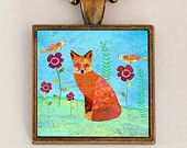 Fox Necklace, Fox Pendant, Copper Necklace