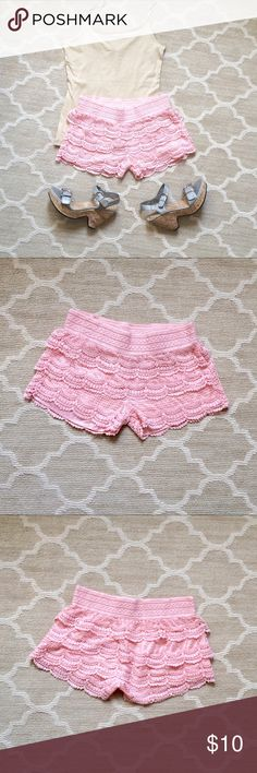 New Women's Tiered Crochet Lace Scallop Shorts New Women's Tiered Crochet Lace Scallop Shorts $10 Size: Medium  Tiered lace add an effortlessly romantic touch to these casual shorts. Sits at the waist. Elasticized waistband. Tiered construction. Allover floral scallop lace. Scalloped hems adorn these body-con shorts with stretchy floral lace. Great to pair under too short cutoff for a layered look. Brand new. Accessories not included.  Serious buyers only. ❎ No Exchanges ❎ No Damages ❎ No…